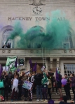 September 2016, Sisters Uncut occupy Hackney Town Hall in protest at the cuts to services for victims of domestic abuse by Hackney Labour Council.