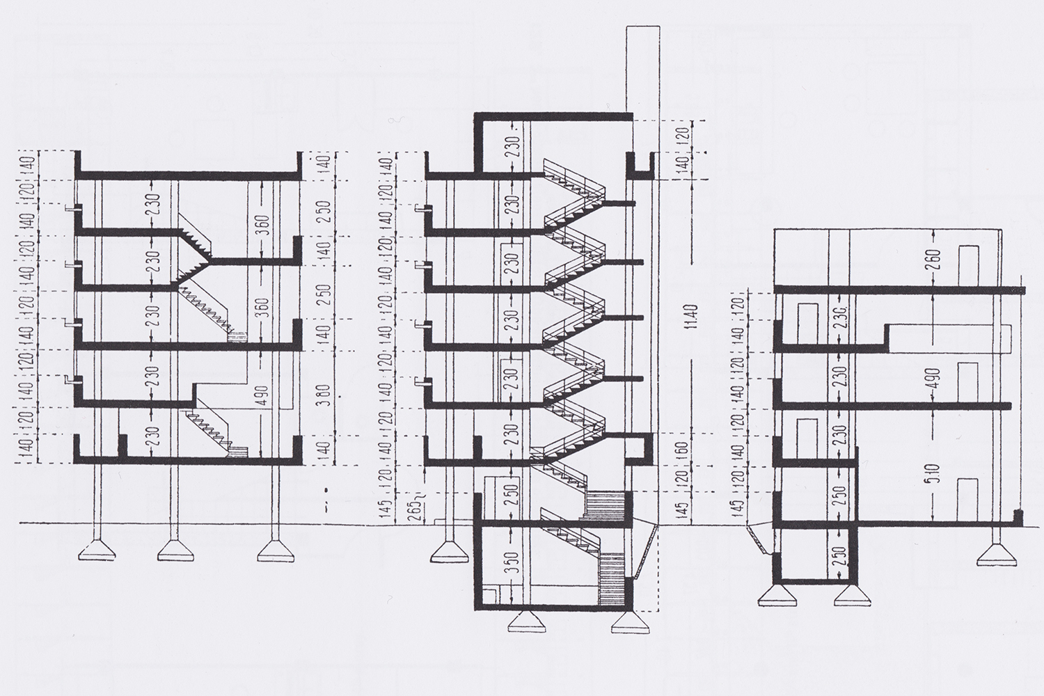 Narkomfin Building Sections For Residential Block And Communal H 265 Diagram Annexe