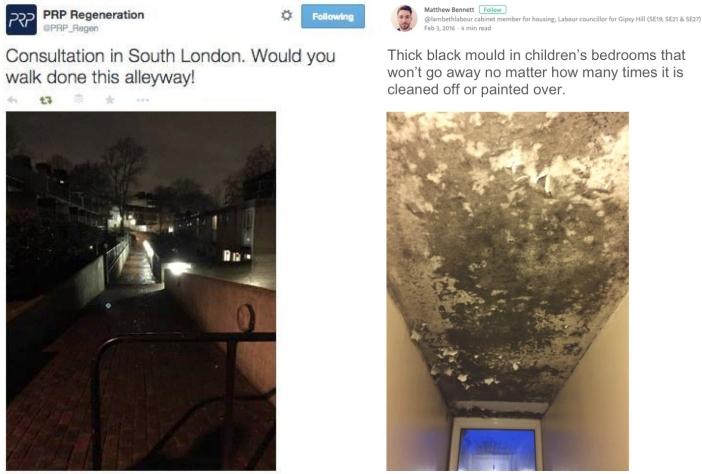 PRP Architects and Lambeth council propaganda on social media