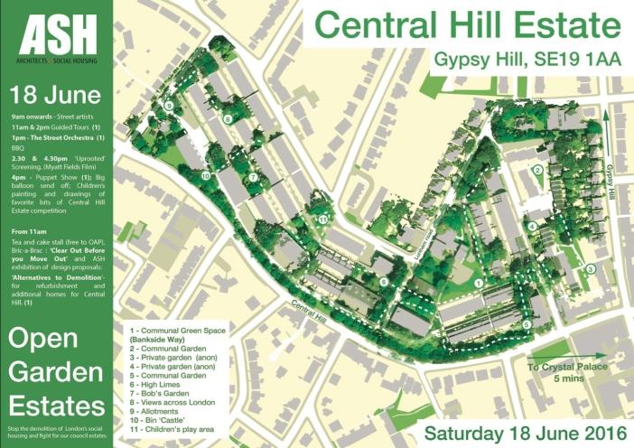 ASH, map of Central Hill estate for Open Garden Estates, 2016