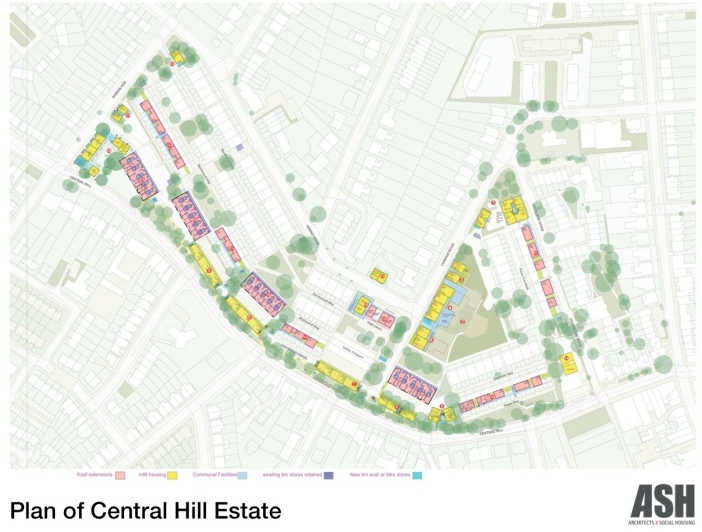 ASH, Plan of Central Hill estate