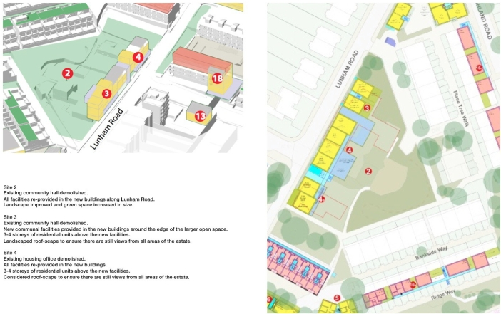 ASH, Sites 2/3/4. Housing and Communal Facilities: Axo and Plan